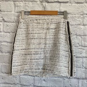 ZARA Basic Black White Tweed Skirt w side stripe